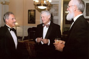 Author speaks with attendees at Fort Orange Club, USS Slater dinner