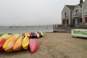 fog rolls in on the Nantucket harbor