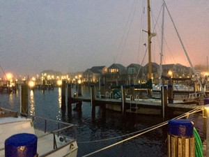 Tonight the harbor is calm and serene as the fog quietly rolls in.
