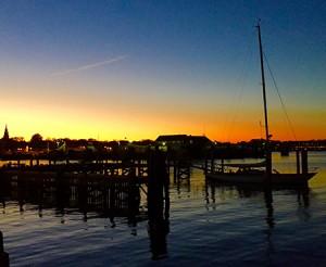 The harbor as evening settles in. — in Nantucket, Massachusetts.